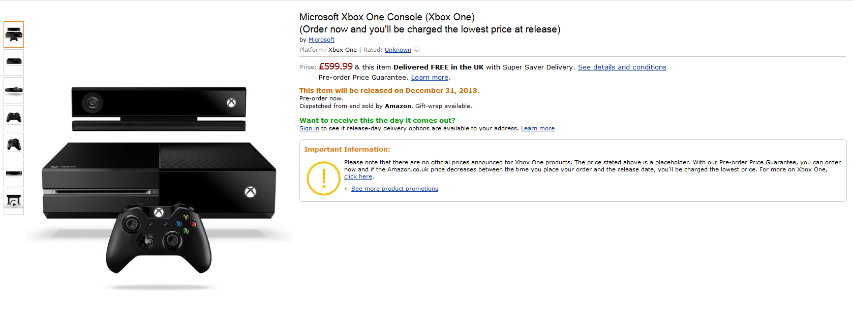 xbox one ouverture des pr commandes sur amazon uk. Black Bedroom Furniture Sets. Home Design Ideas
