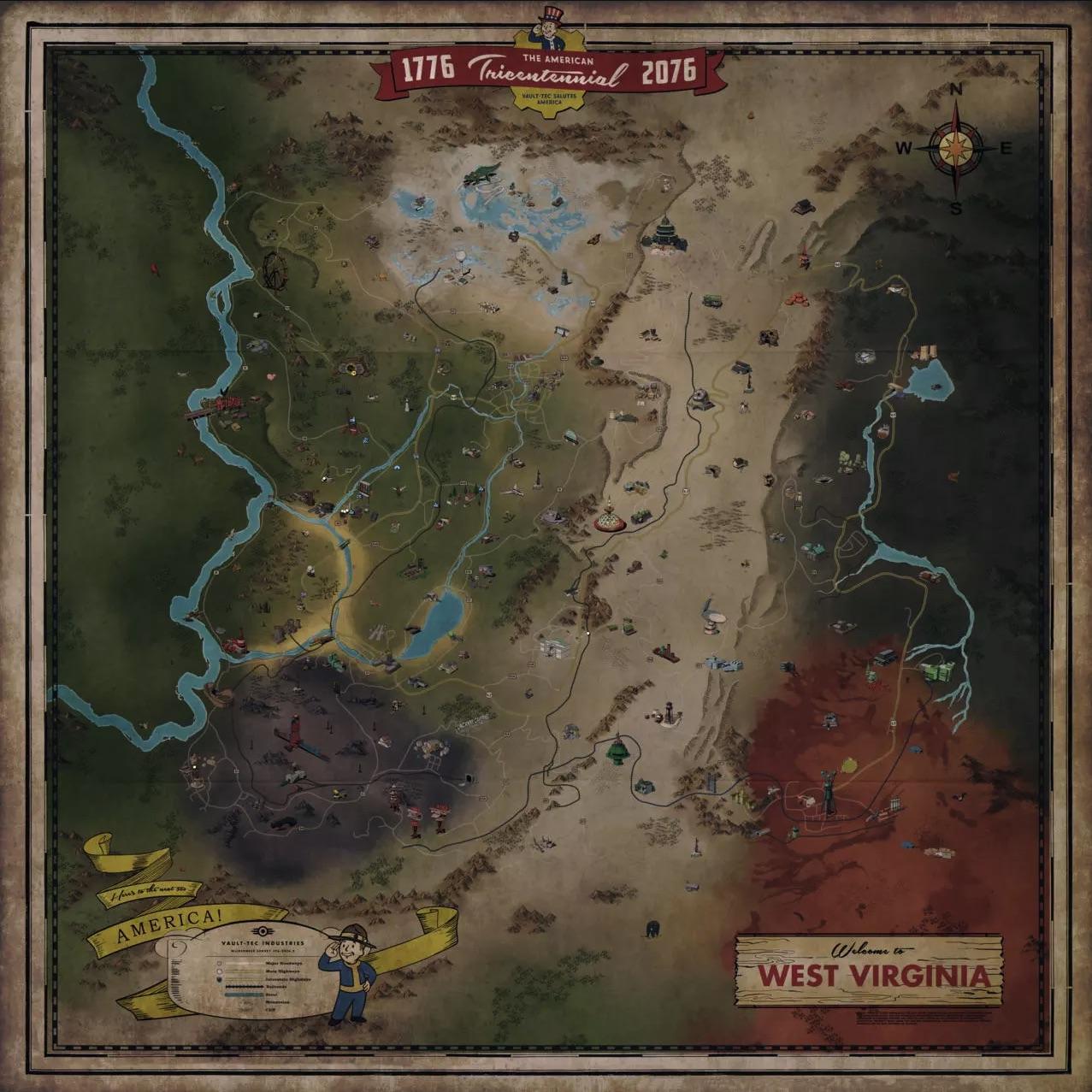 Map / Carte de Fallout 76 PC PS4 ONE